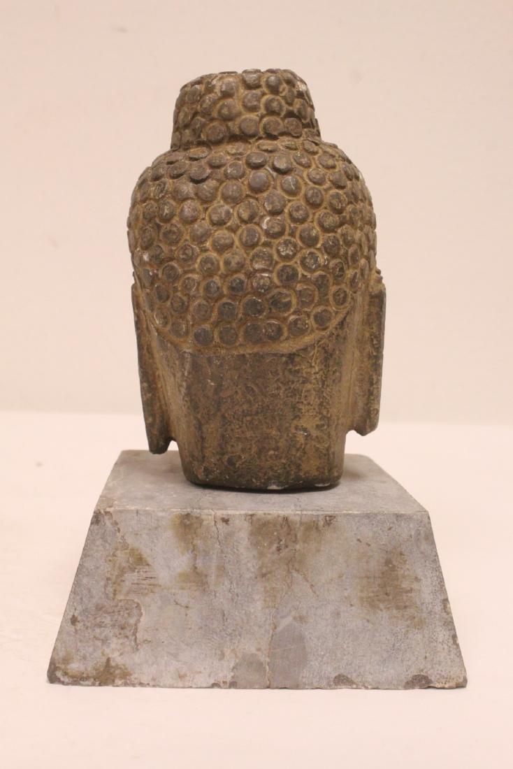 2 stone carved Buddha head - 9
