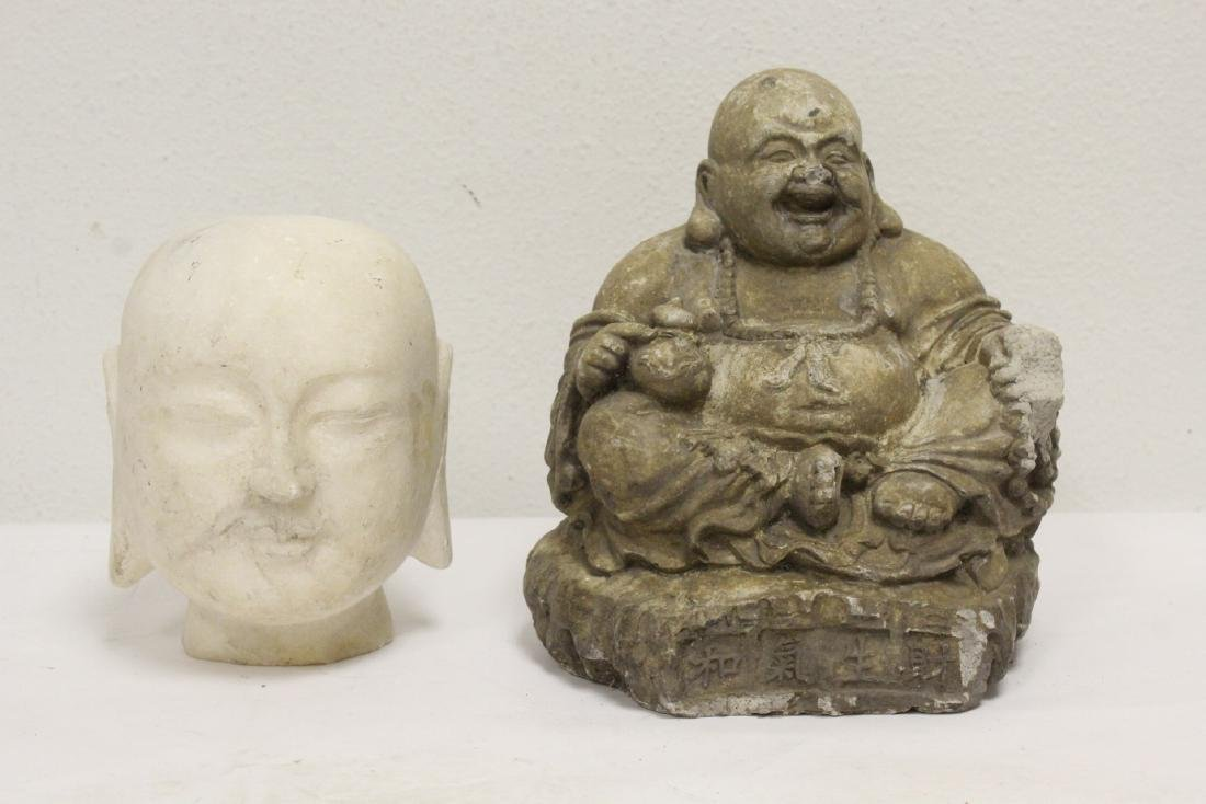 Marble Buddha head, and a stone carving