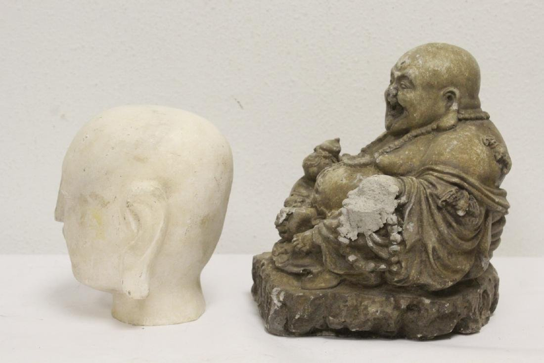 Marble Buddha head, and a stone carving - 2