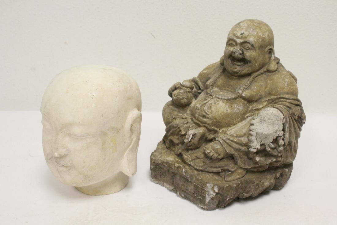Marble Buddha head, and a stone carving - 6