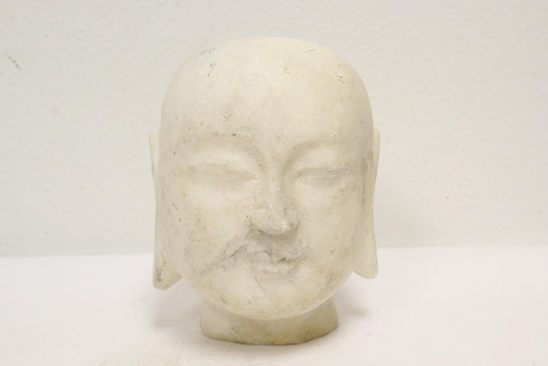 Marble Buddha head, and a stone carving - 9