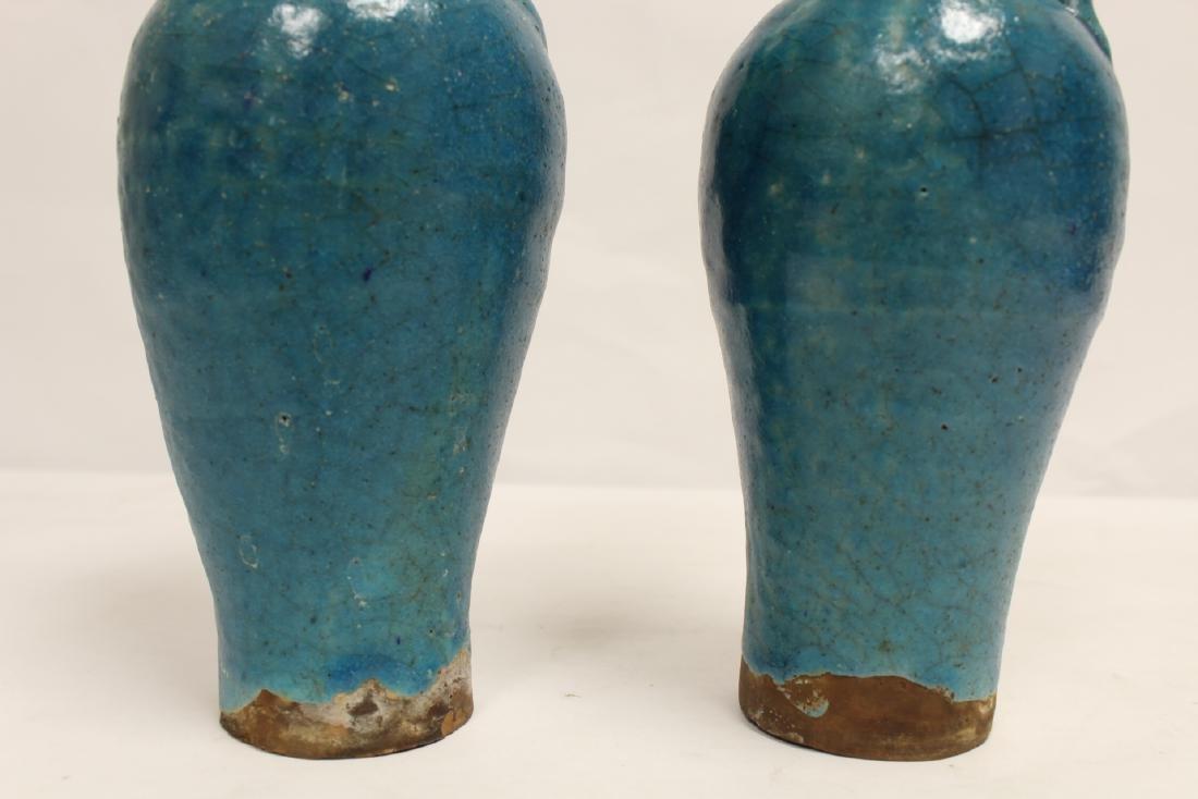 Pair unusual Chinese blue glazed vases - 10
