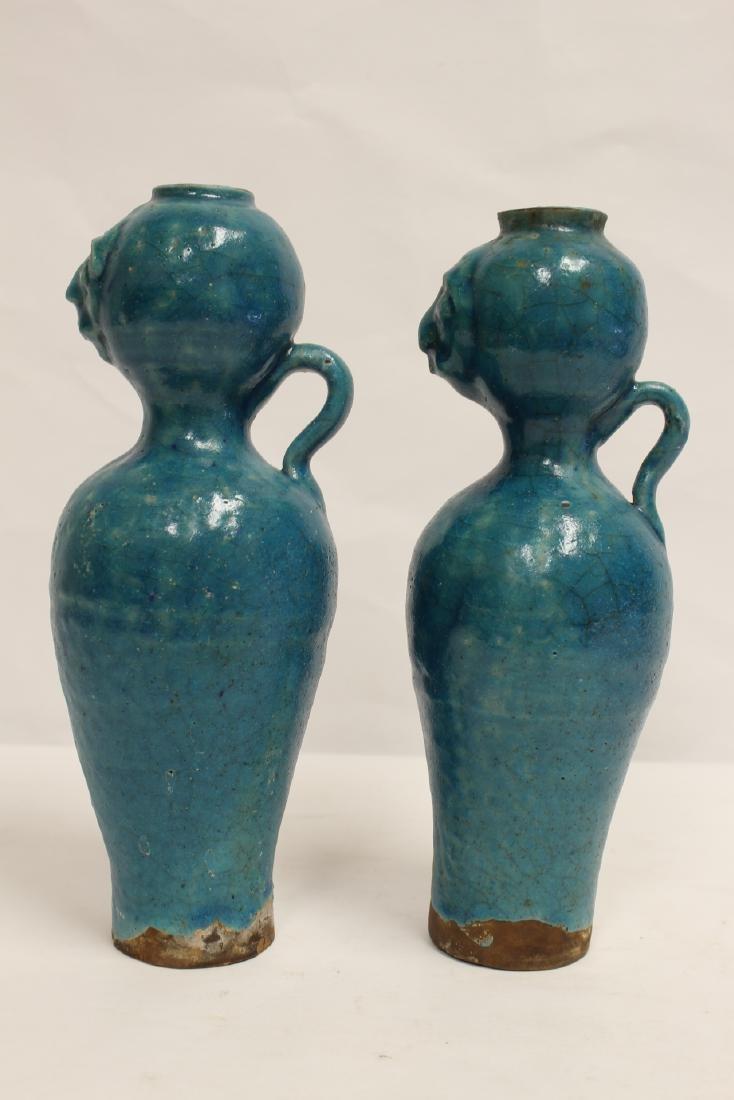 Pair unusual Chinese blue glazed vases - 2