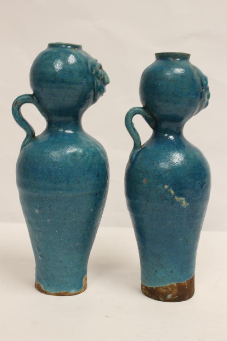 Pair unusual Chinese blue glazed vases - 4