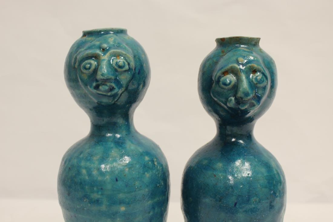 Pair unusual Chinese blue glazed vases - 6