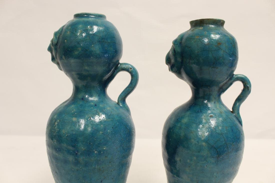 Pair unusual Chinese blue glazed vases - 9