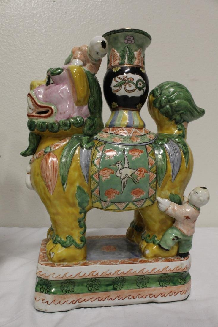 Pair Chinese famille rose porcelain fulion - 3