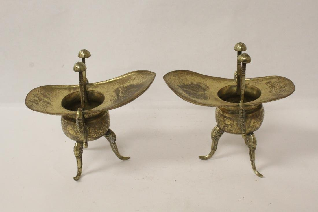 Pr Chinese 19th c. silver on brass wedding wine cups