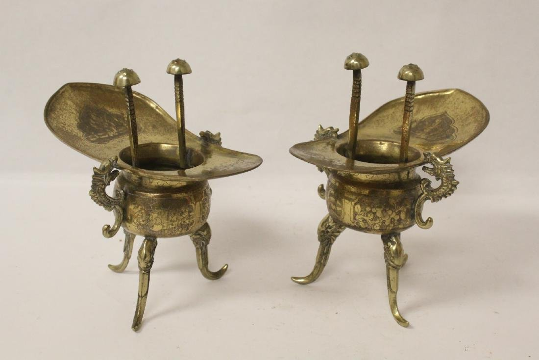 Pr Chinese 19th c. silver on brass wedding wine cups - 3