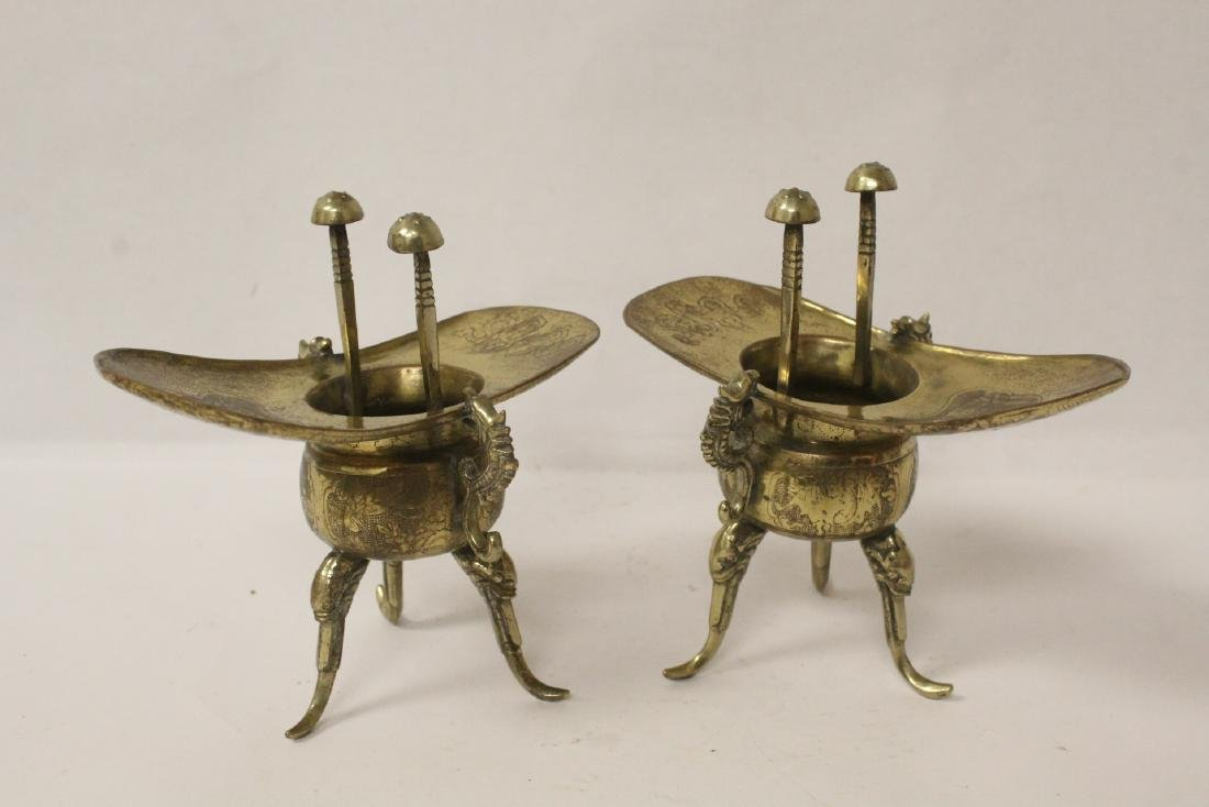 Pr Chinese 19th c. silver on brass wedding wine cups - 4