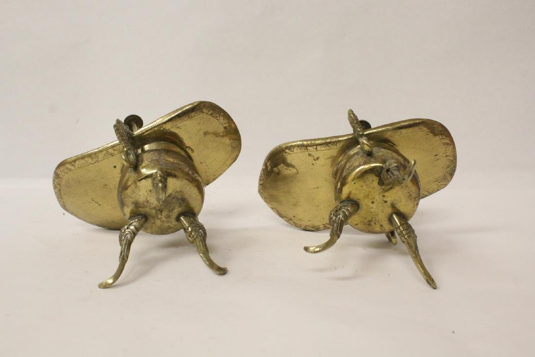 Pr Chinese 19th c. silver on brass wedding wine cups - 8