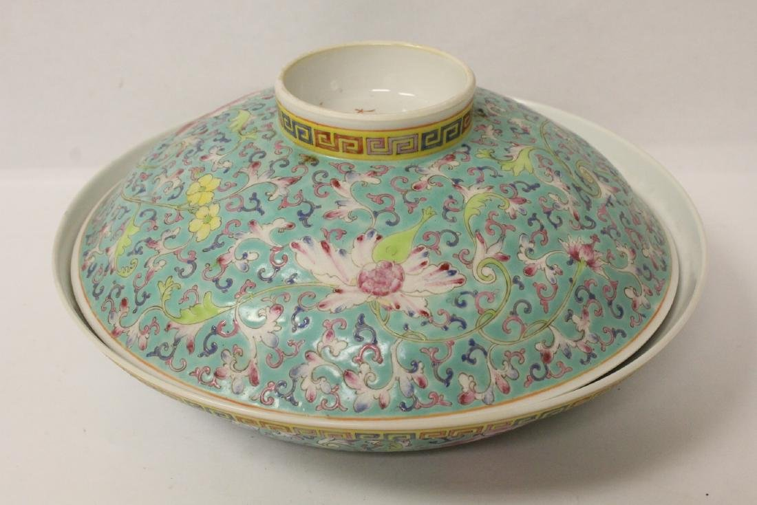 Chinese famille rose porcelain covered bowl - 2
