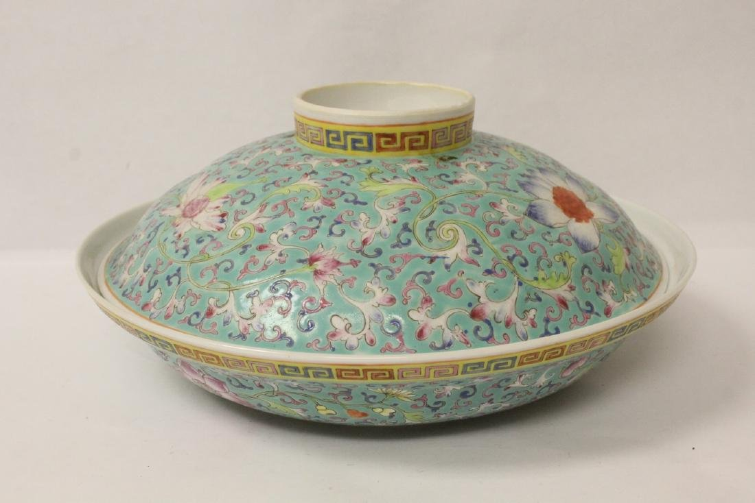 Chinese famille rose porcelain covered bowl - 3