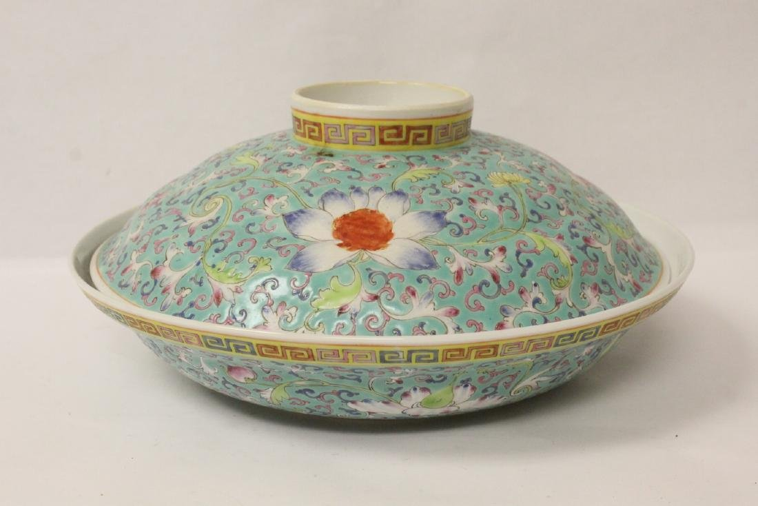 Chinese famille rose porcelain covered bowl - 4
