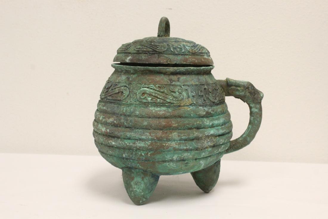 Chinese archaic style bronze handled hu