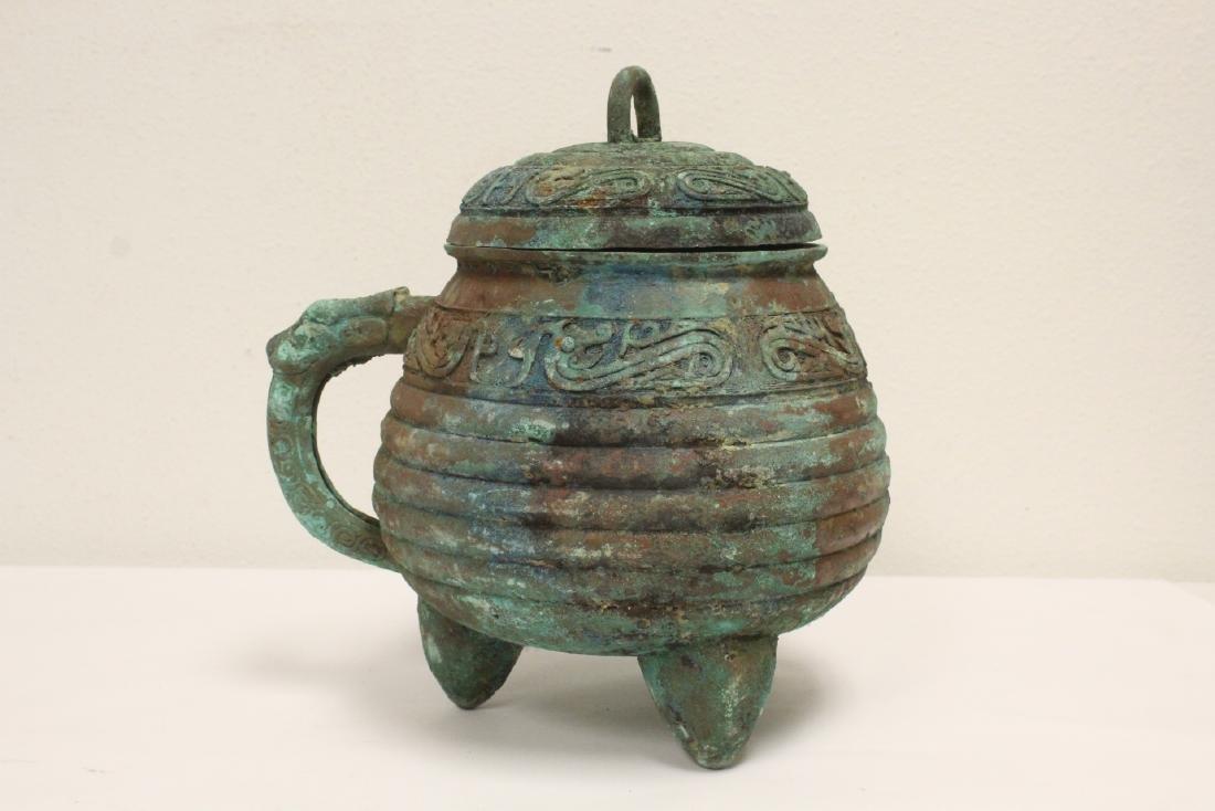 Chinese archaic style bronze handled hu - 3