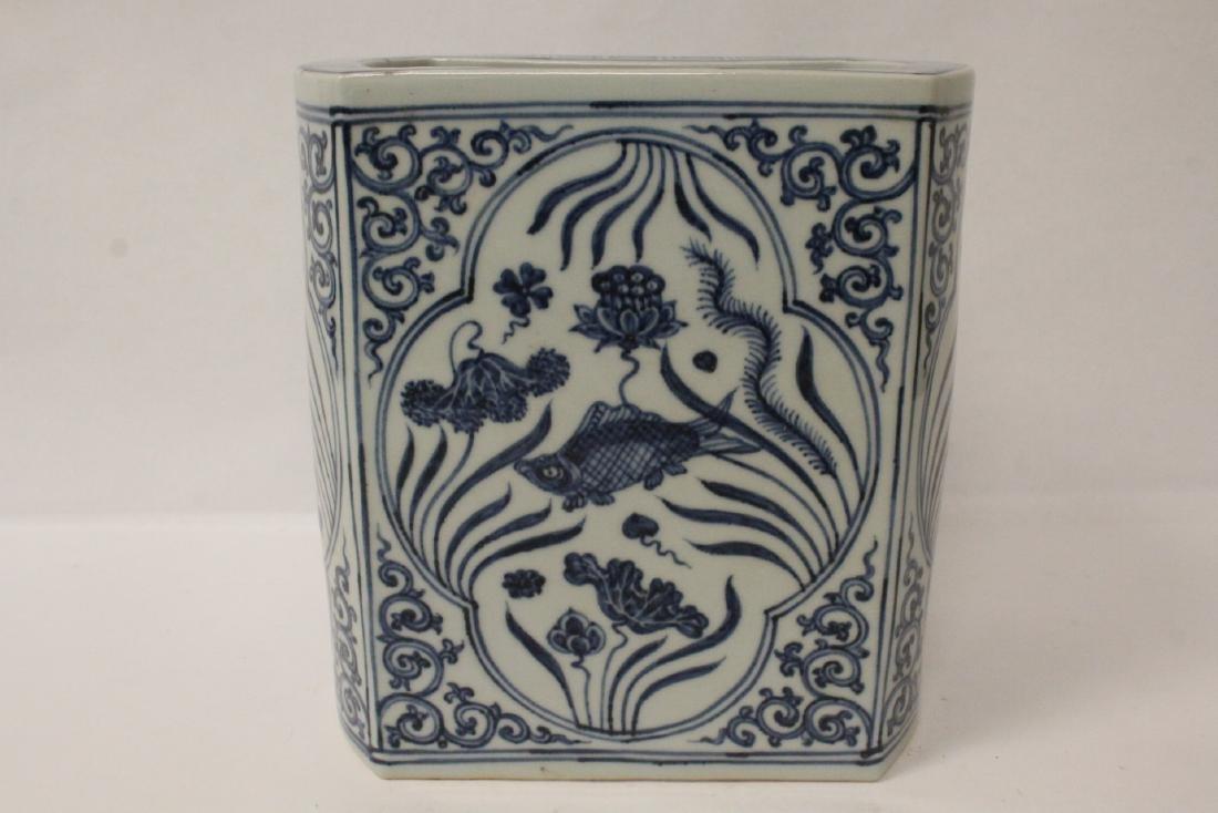 Chinese blue and white porcelain brush holder