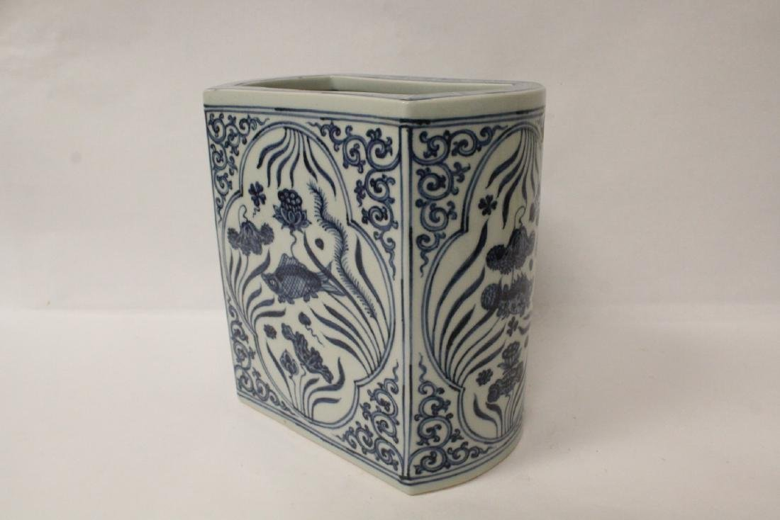 Chinese blue and white porcelain brush holder - 2
