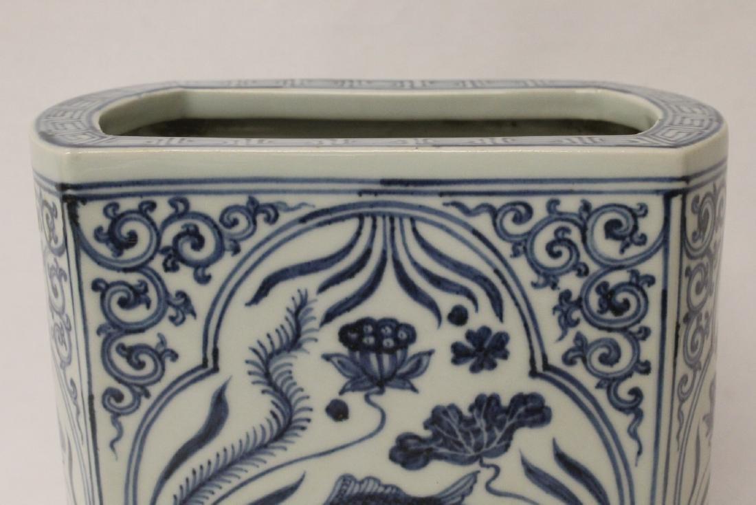 Chinese blue and white porcelain brush holder - 7