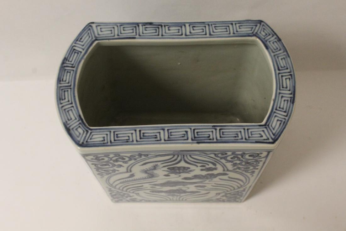 Chinese blue and white porcelain brush holder - 8