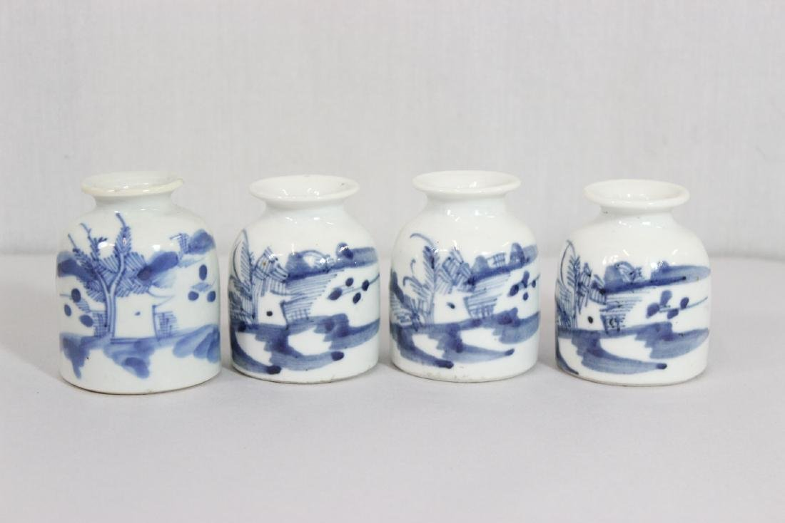 4 Chinese 19th/20th c. b&w porcelain small jars