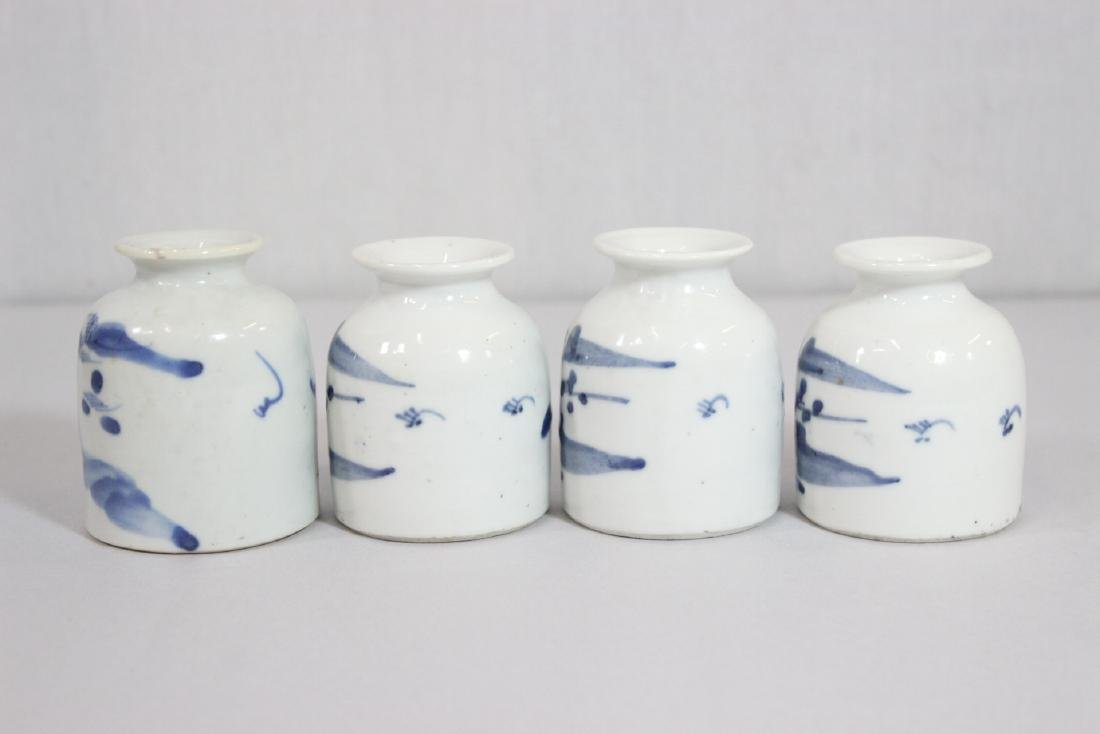 4 Chinese 19th/20th c. b&w porcelain small jars - 2