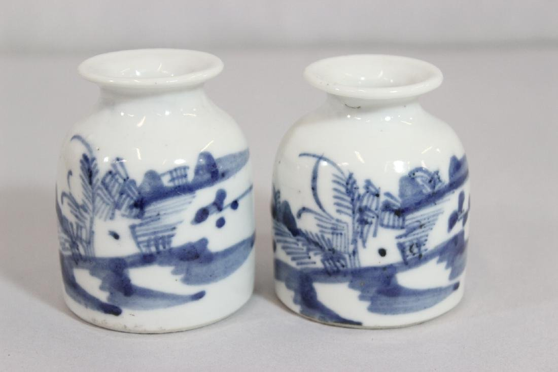 4 Chinese 19th/20th c. b&w porcelain small jars - 7