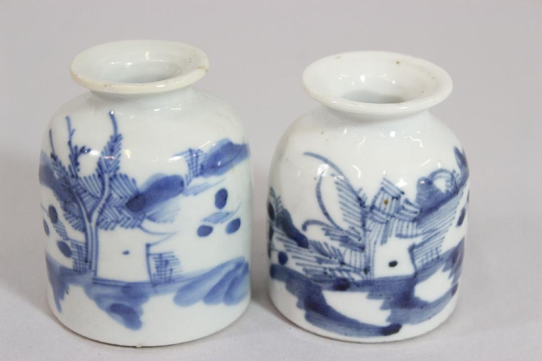 4 Chinese 19th/20th c. b&w porcelain small jars - 9