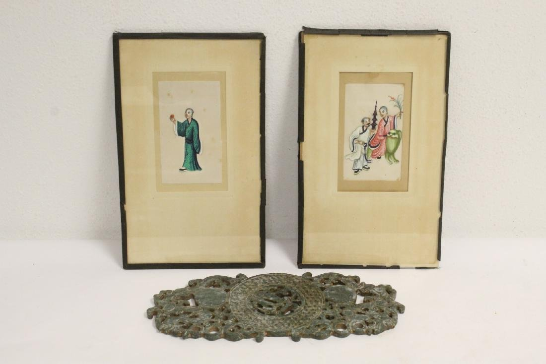2 Chinese small paintings & Chinese jade plaque