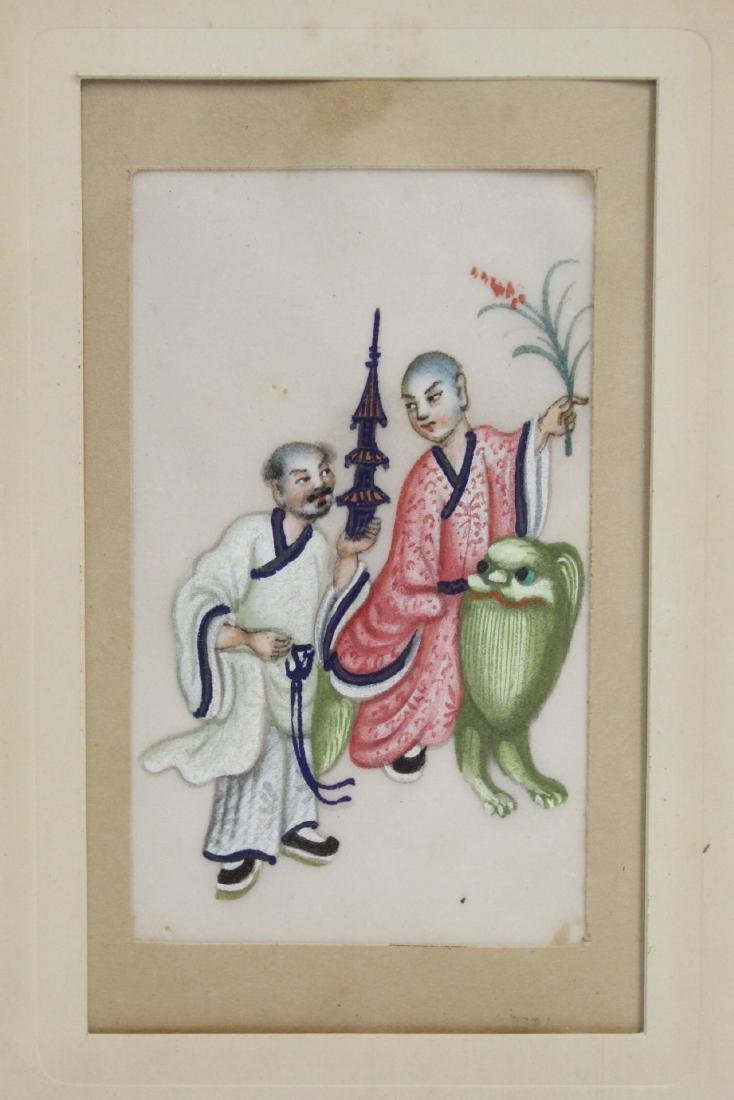 2 Chinese small paintings & Chinese jade plaque - 3