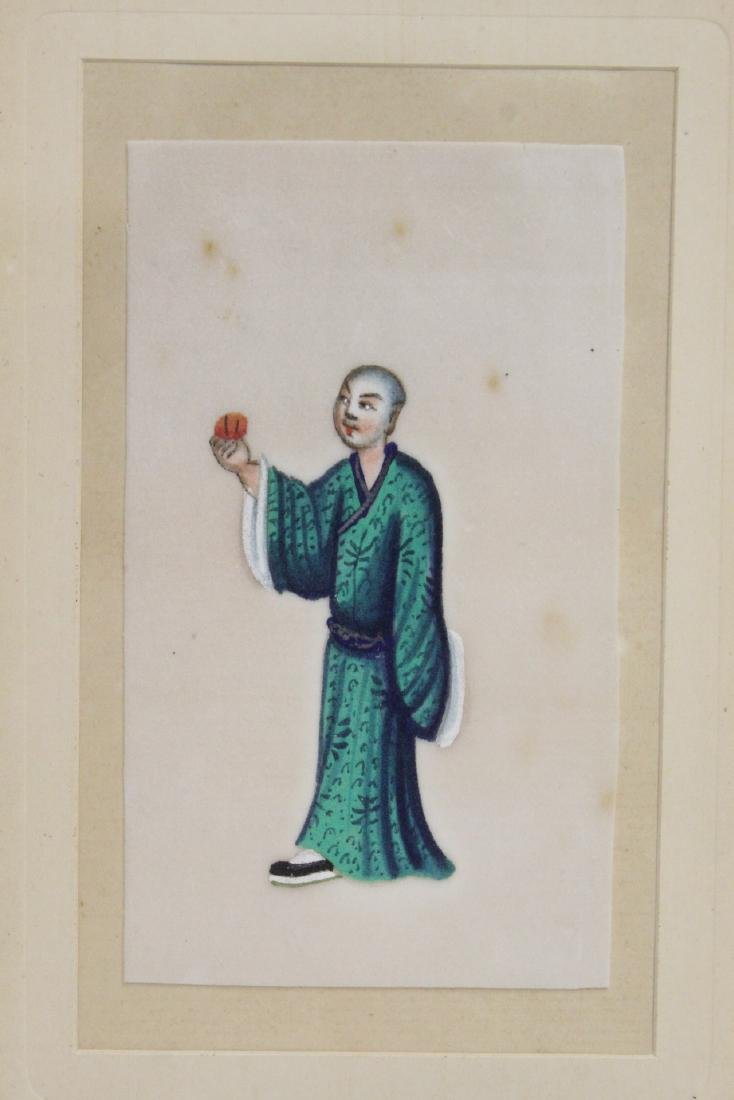 2 Chinese small paintings & Chinese jade plaque - 6