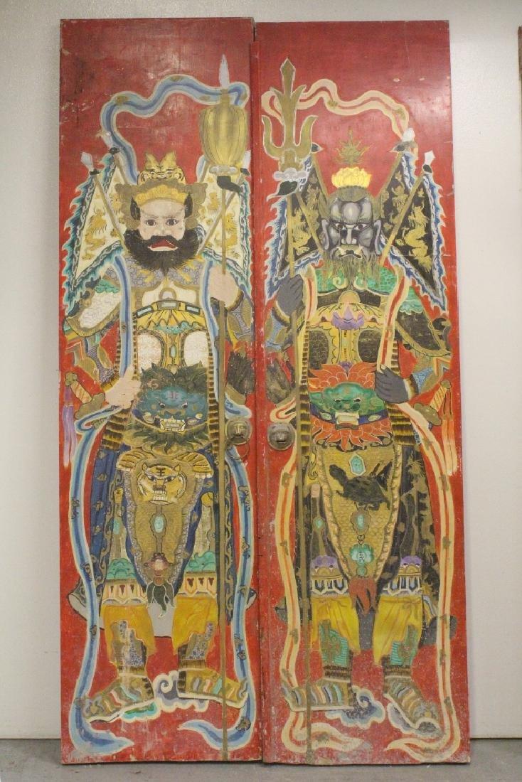 4-panel massive antique painted doors - 2
