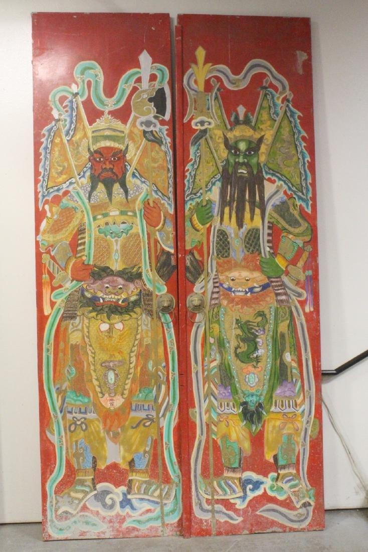 4-panel massive antique painted doors - 6