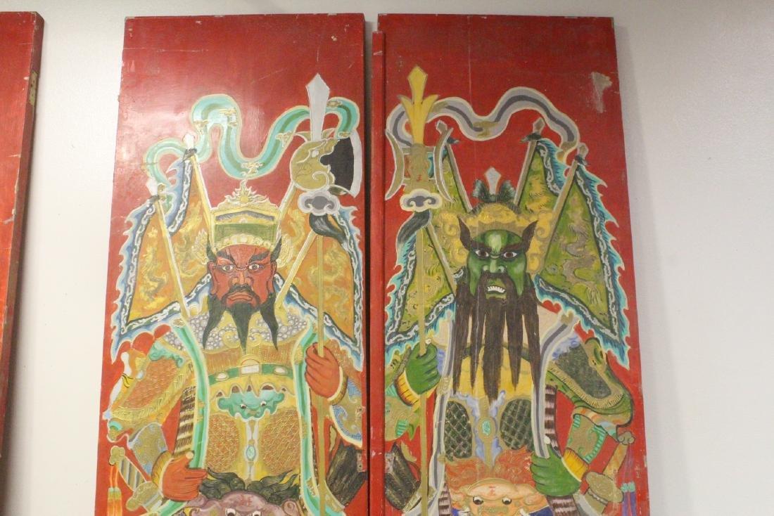 4-panel massive antique painted doors - 7