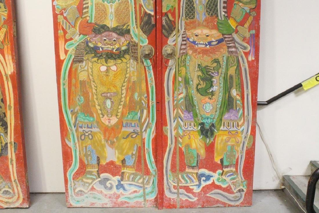 4-panel massive antique painted doors - 8