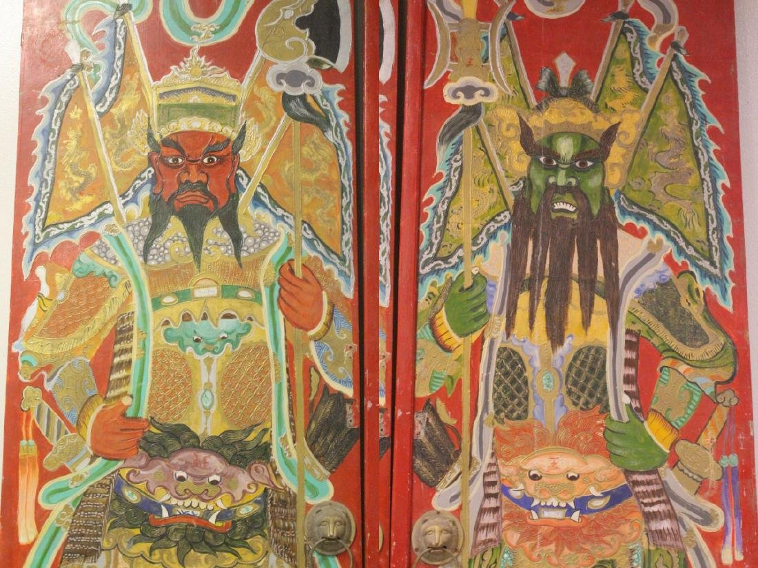 4-panel massive antique painted doors - 9