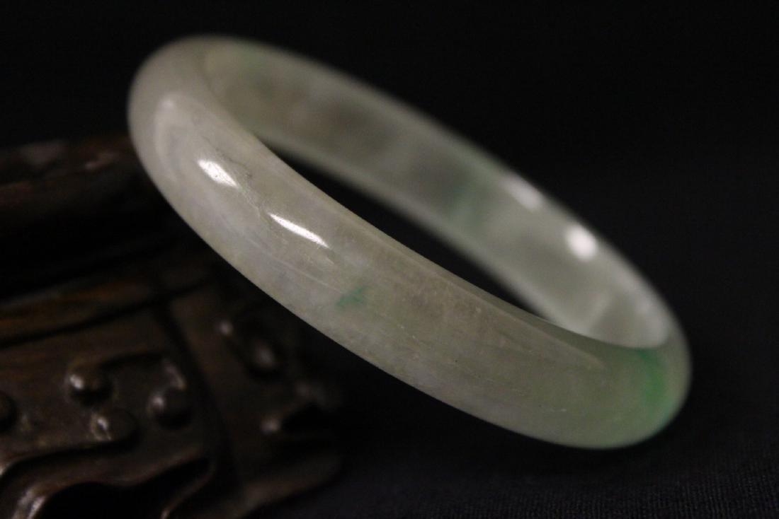 Translucent jadeite like stone bangle bracelet - 6