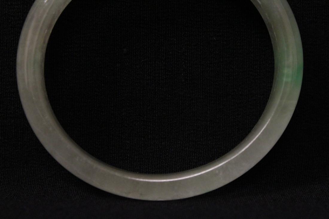 Translucent jadeite like stone bangle bracelet - 7