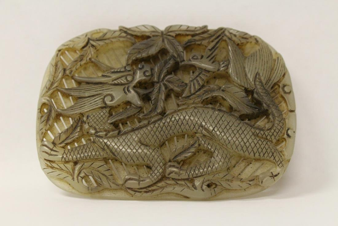 Unusual Chinese jade carved plaque - 2