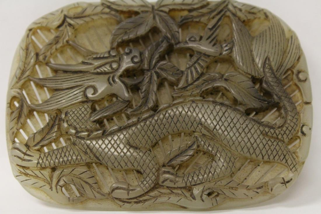 Unusual Chinese jade carved plaque - 3