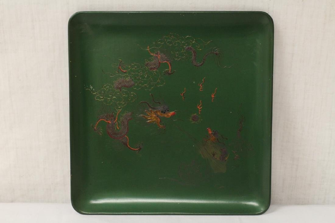 Chinese vintage Fuzhou lacquer square plate