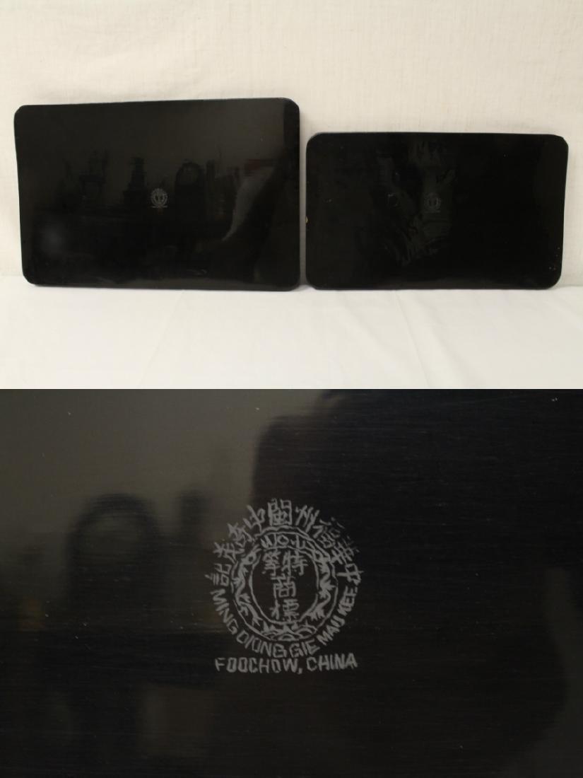2 Chinese Fuzhou lacquer trays - 10