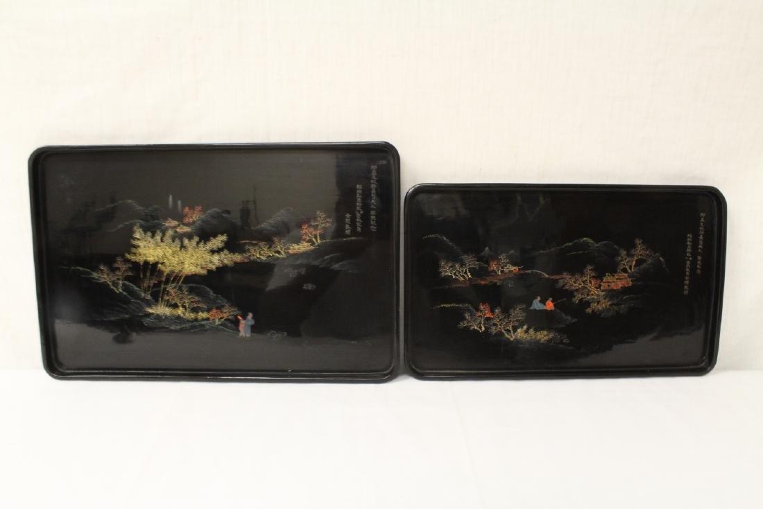 2 Chinese Fuzhou lacquer trays