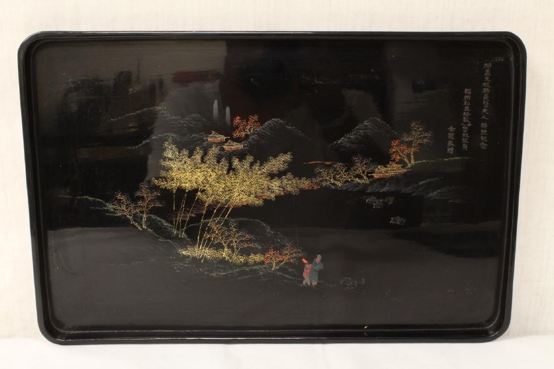 2 Chinese Fuzhou lacquer trays - 2