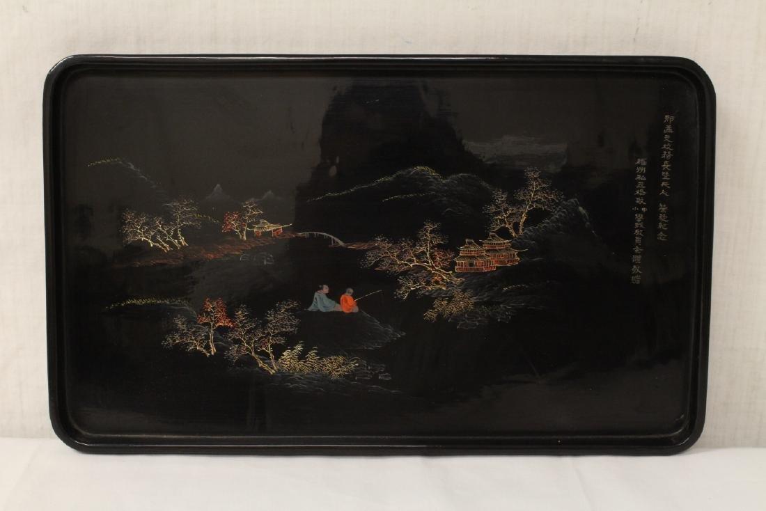 2 Chinese Fuzhou lacquer trays - 6