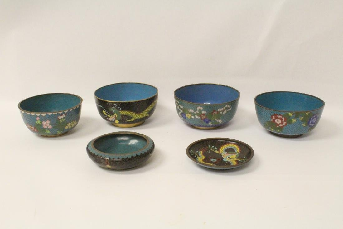 6 pieces Chinese vintage cloisonne