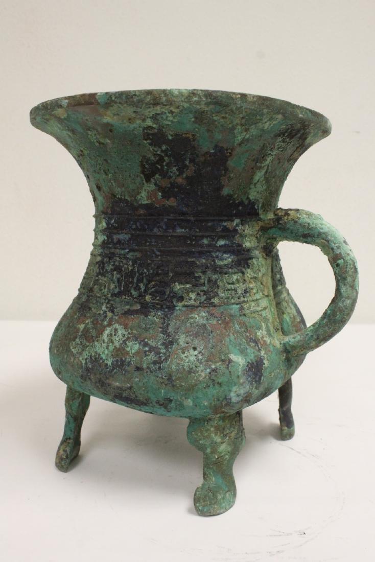 Chinese archaic style bronze handled hu - 10