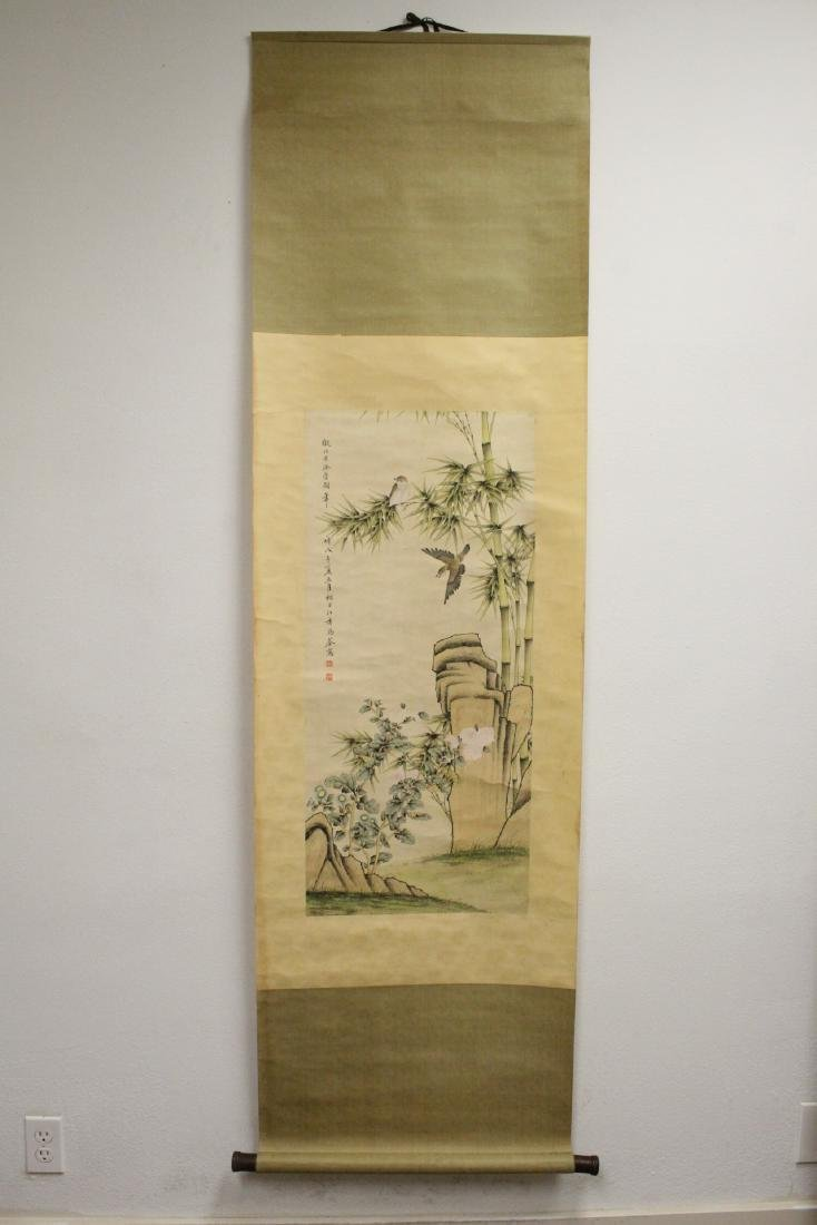 "Chinese watercolor scroll ""bamboo tree and birds"" - 2"