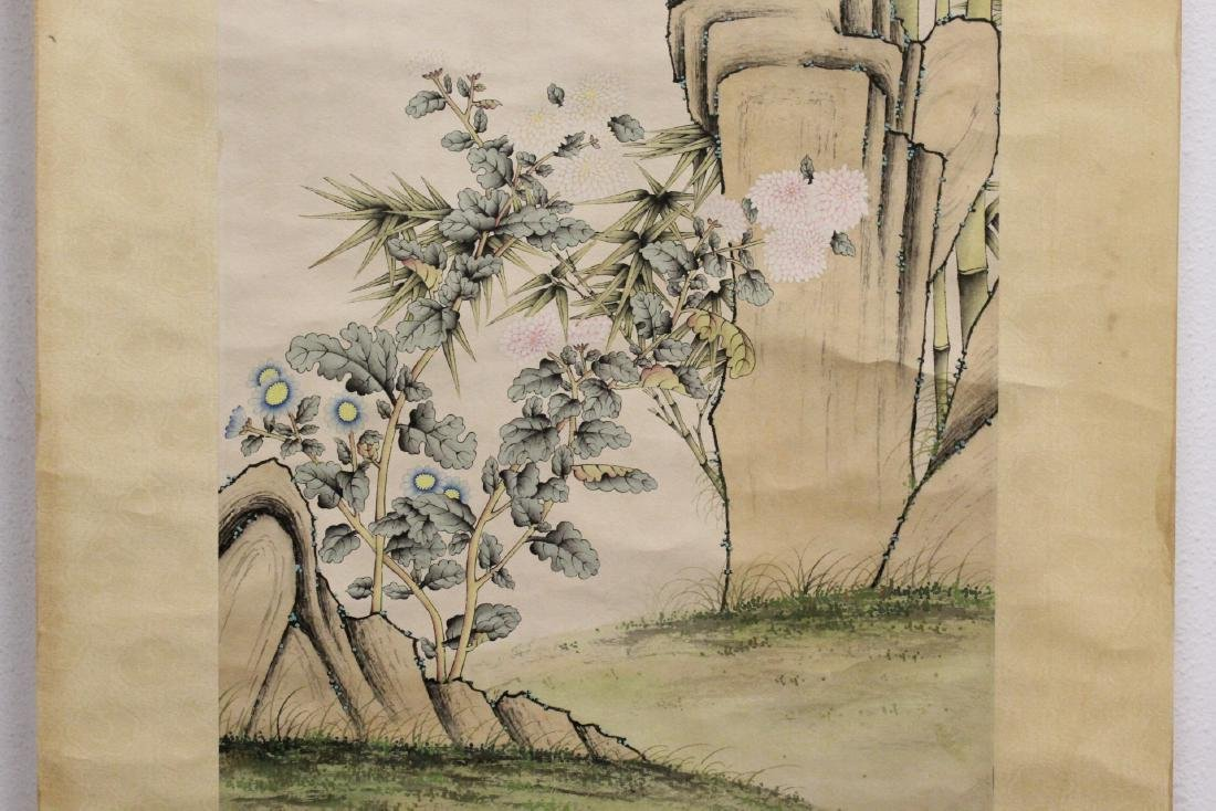 "Chinese watercolor scroll ""bamboo tree and birds"" - 5"