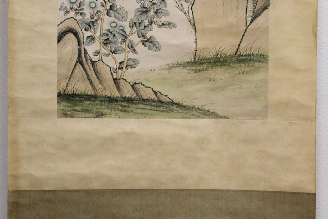 "Chinese watercolor scroll ""bamboo tree and birds"" - 6"